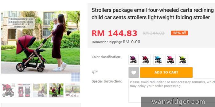 Beli kerusi tolak sorong strollers untuk baby di EzBuy