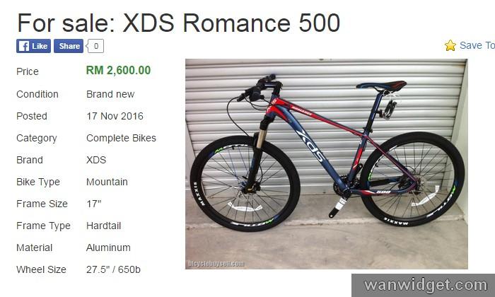 Harga basikal XDS Romance Lagendary 500 yang dijual di Malaysia