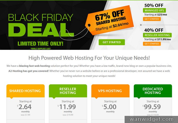 Promosi black friday dari A2Hosting