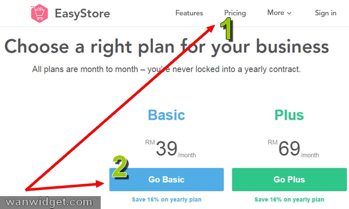 Step by step melanggan pakej eCommerce website EasyStore