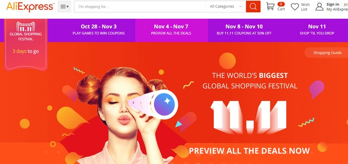 super deal online mega sales dari Aliexpress pada 11 november