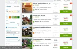 Contoh website eCommerce pelancongan untuk perbandingan bilik penginapan Pulau Tioman