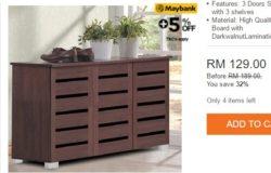 Almari kabinet rak kasut kayu yang menarik dan cantik