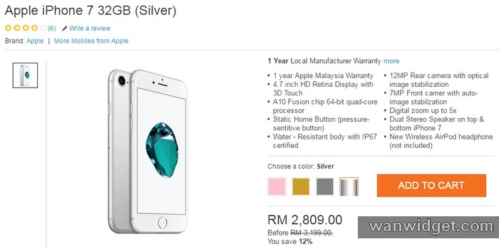 Beli Handphone iPhone warna silver 32GB di internet