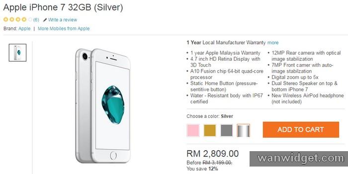 Beli Handphone iPhone warna silver 32GB di internet