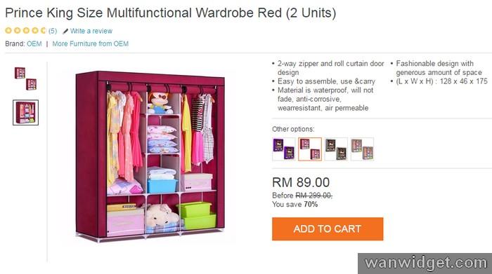 Beli almari pakaian baju diy murah bawah RM100