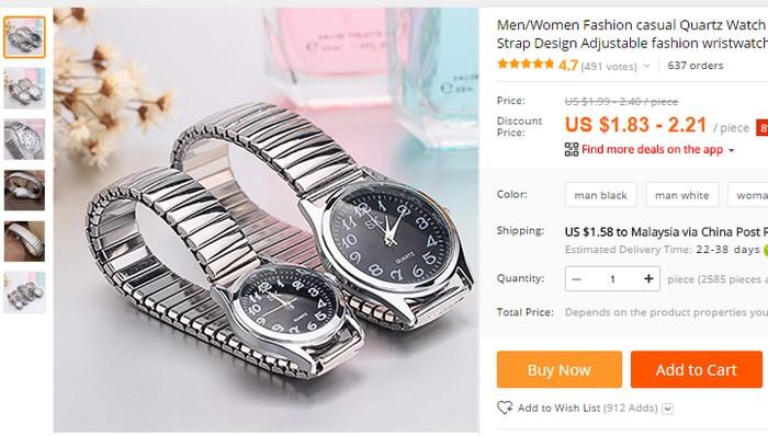 Beli jam tangan couple unisex murah secara online di China Aliexpress