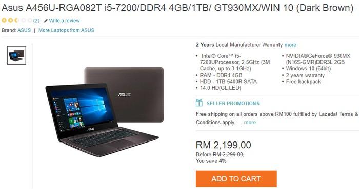 Beli laptop di internet jenama Asus di Lazada Malaysia