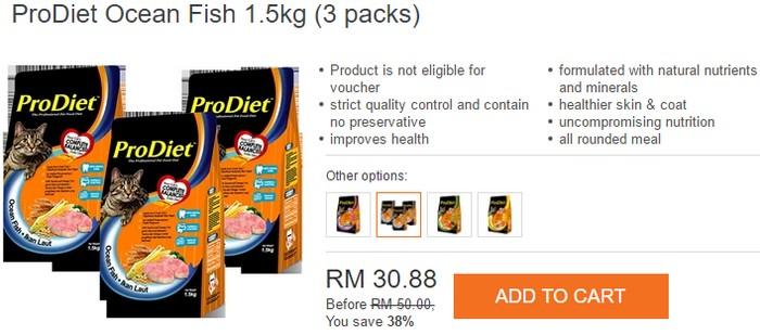 Beli makanan kucing berkualiti bagus jenama ProDiet di internet Lazada Malaysia