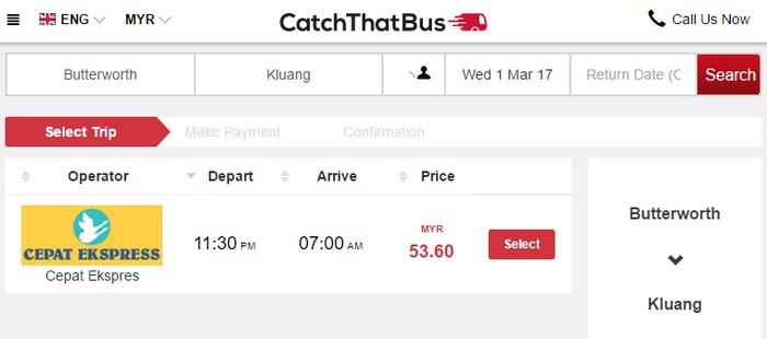 Beli tiket bas express online dari Butterworth ke Kluang menggunakan Catchthatbus