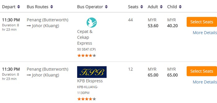 Beli tiket bas express online dari Butterworth ke Kluang menggunakan website eCommerce tiket bas dari Easybook