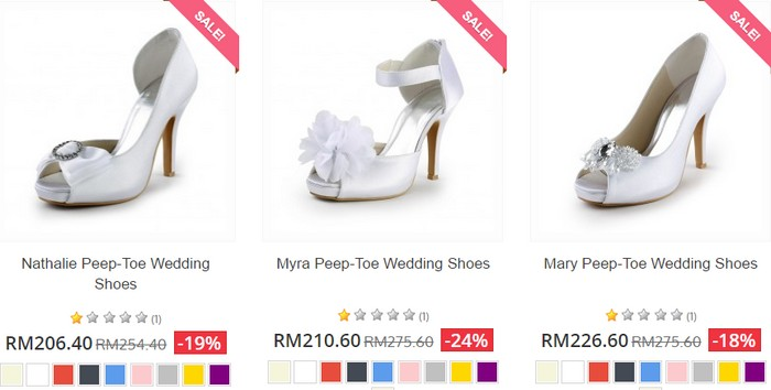 Beli wedding shoes yang cantik menarik di internet