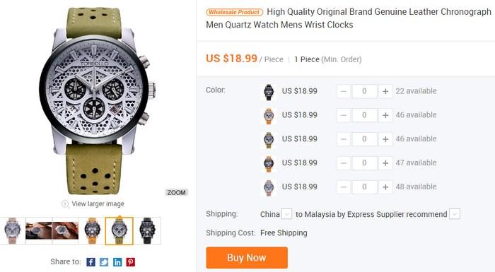 Contoh jam tangan cantik harga murah yang boleh anda borong barang dari China secara online