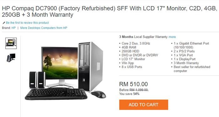 Contoh tawaran untuk beli komputer murah refurbished yang bagus