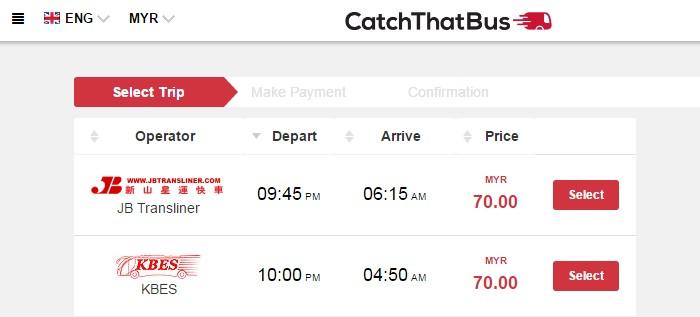 Maklumat bas express, jam bertolak, waktu sampai dan harga tiket bas di tunjukkan