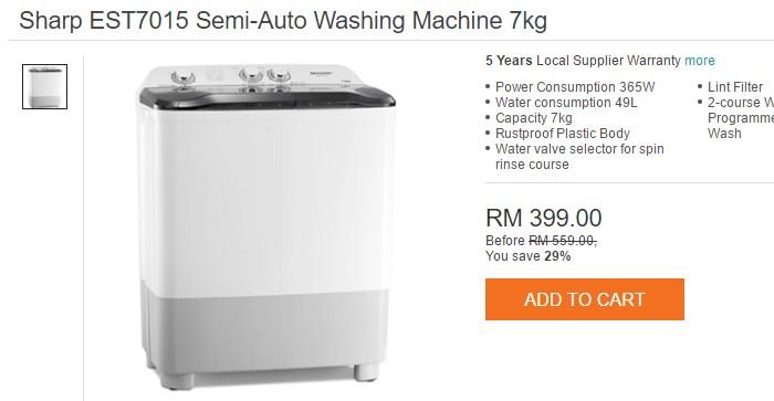 Mesin basuh semi auto jenama Sharp yang tahan lama di Lazada Malaysia