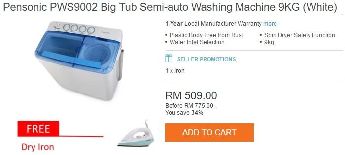 Promosi beli mesin basuh jenis semi auto online dan dapat hadiah percuma