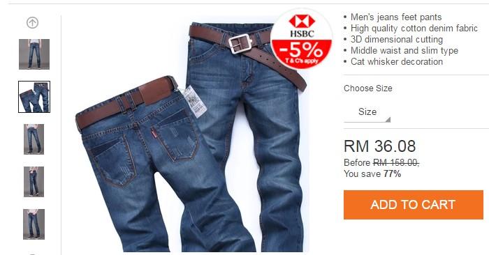 Promosi seluar jeans lelaki murah di Lazada Malaysia