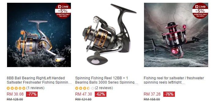 Survey mesin pancing murah (cheap fishing reels) di Lazada Malaysia