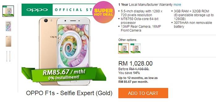 Anda boleh membeli smartphone oppo semurah dan serendah RM85.67 sebulan melalui ansuran installment di Lazada Malaysia