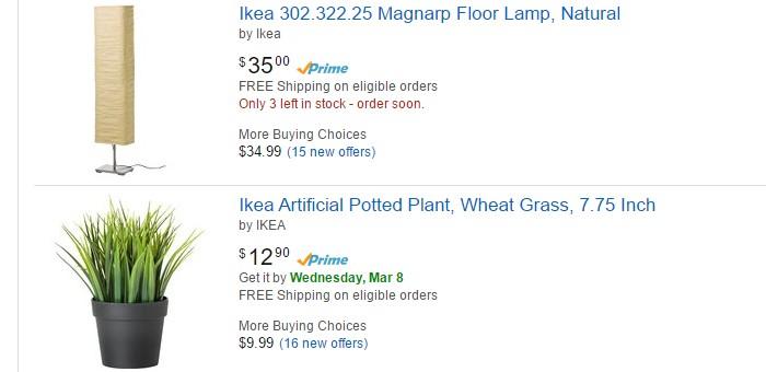 Banyak produk barangan rumah dari Ikea yang boleh anda beli di Amazon