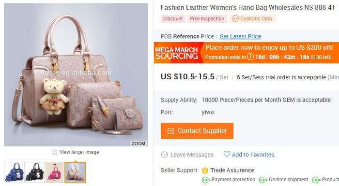 Bayangkan anda boleh beli beg tangan wanita semurah USD10 sahaja dengan borong china online