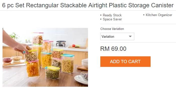 Bekas kedap udara yang sesuai untuk kuih raya ada dijual di Lazada Malaysia