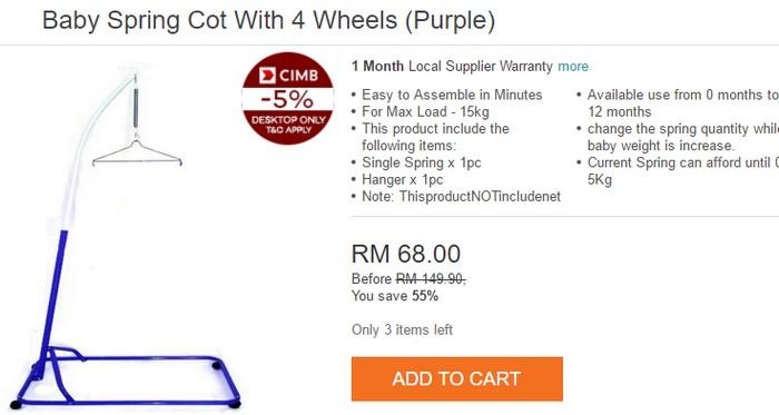 Beli buaian bayi yang murah jenis besi biasa di Lazada Malaysia