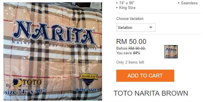 Beli cadar toto jenama Narita di Lazada Malaysia