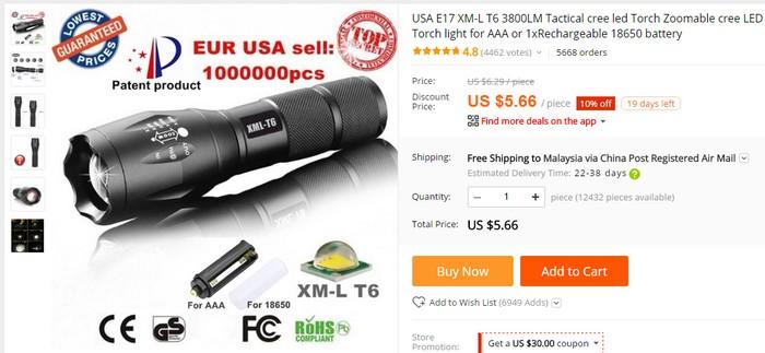 Beli flashlight paling murah secara online di Aliexpress