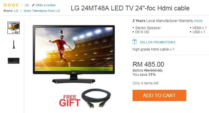 Beli led tv berharga di bawah RM500 jenama LG dan percuma hdmi cable online di Lazada Malaysia
