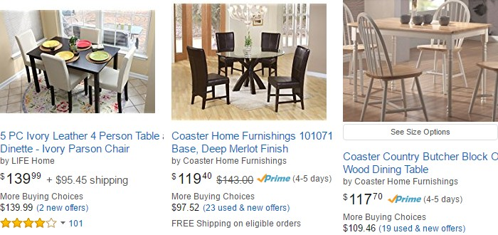 Beli meja makan dapur yang berkualiti di internet di website Amazon