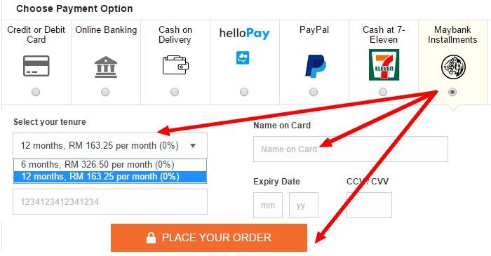 Beli smartphone secara ansuran online dengan Maybank kredit kad di Lazada Malaysia