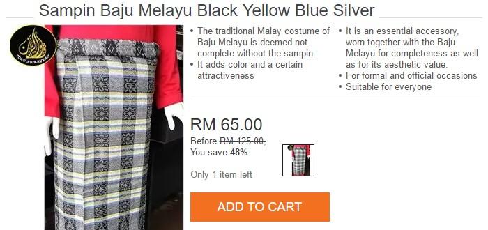 Boleh beli kain samping murah jenis biasa online di Lazada Malaysia