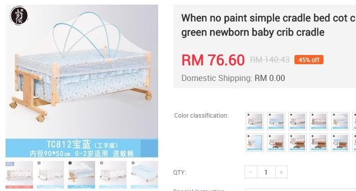 Buaian bayi jenis design kayu yang cantik dan murah di EzBuy Malaysia