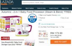 Contoh blender makanan bayi baby yang murah di Lazada Malaysia