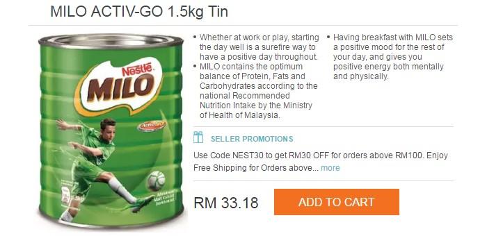 Dapatkan tin milo murah yang boleh anda beli di Lazada Malaysia