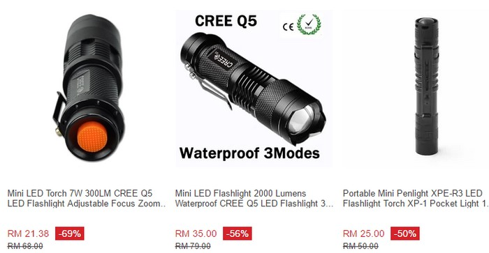 Lazada Malaysia ada banyak menjual flashlight murah sebegini