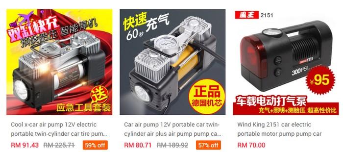 Pelbagai set pam tayar jenis portable buatan China murah yang dijual di Ezbuy Malaysia