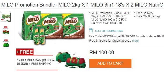 Promosi beli pek milo murah secara online dan dapat hadiah