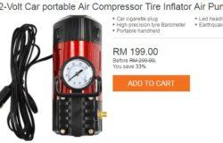 Salah satu contoh pam tayar portable yang berkualiti yang dijual online di Lazada Malaysia