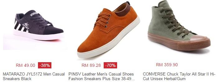 Anda boleh cari kasut raya lelaki jenis kasual melalui internet di web Lazada Malaysia