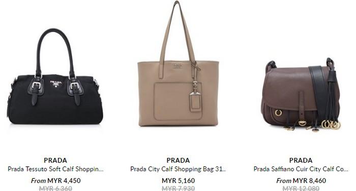 Beli beg tangan wanita berjenama berjenama Prada melalui internet di website eCommerce Reebonz