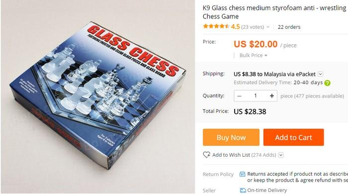 Beli beli papan catur jenis plastik kaca di internet yang unik melalui website eCommerce Aliexpress