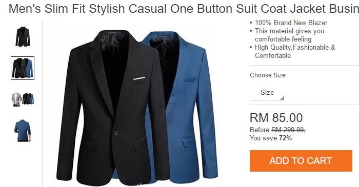Beli blazer lelaki yang berharga murah melalui internet di Lazada Malaysia