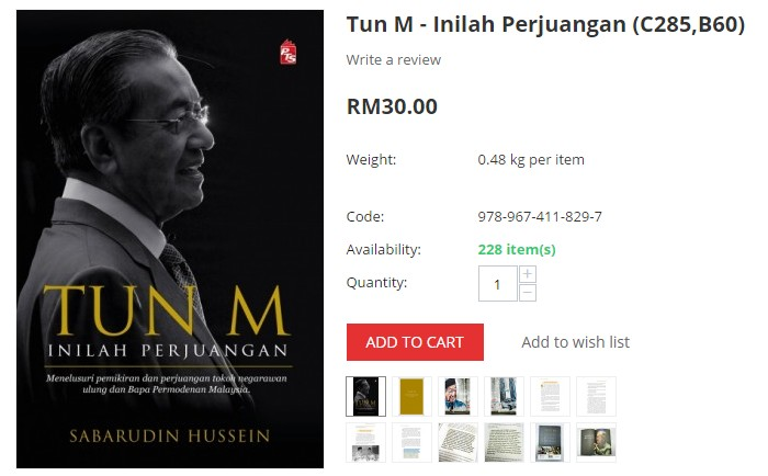 Beli buku Mahathir Mohamad bertajuk Inilah Perjuangan di internet di website eCommerce BookCafe