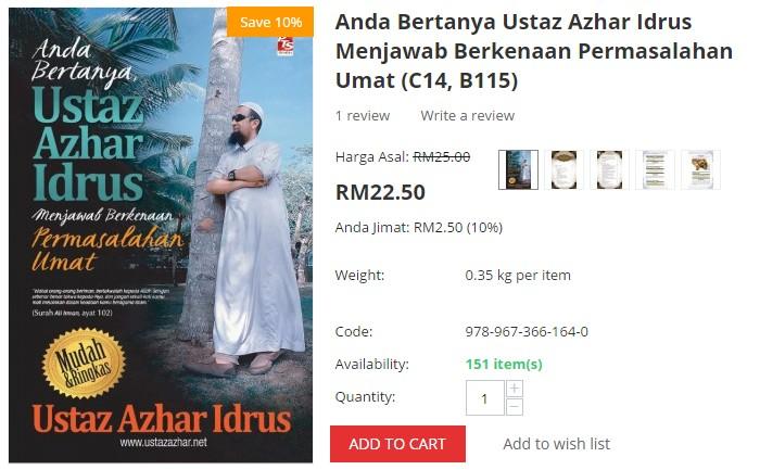 Beli buku Ustaz Azhar Idrus tentang soal jawab agama di website eCommerce Lazada Malaysia