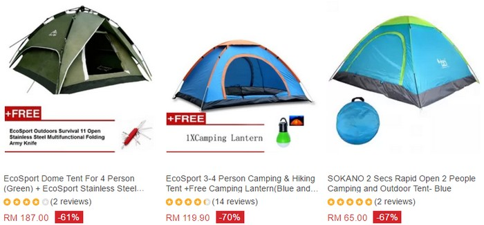 Beli khemah camping murah secara online di website eCommerce Lazada Malaysia