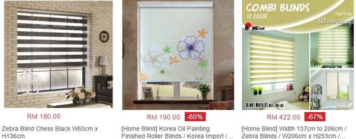 Beli langsir blind pelbagai design online di website eCommerce Lazada Malaysia