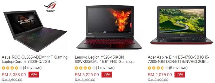 Beli laptop gaming murah online yang bagus di website eCommerce Lazada Malaysia